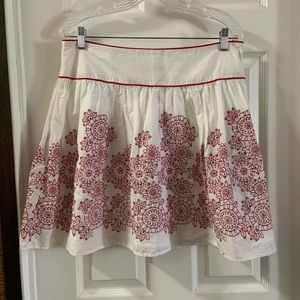 NWT Rampage White/Red Embroidered Skirt 11